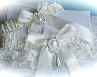 Ivory beaded alencon lace wedding garter set,  Wedding garters,  Garters