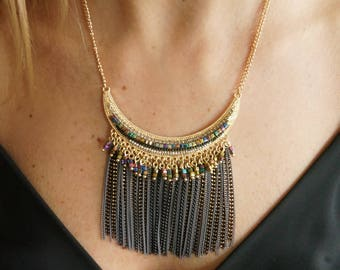 Glass beaded fringe necklace