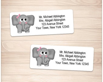 """Printable Girl Elephant Address Labels - Adorable Gray Pink Bow - Personalized 2 5/8"""" x 1"""" Address Labels - Editable PDF - Instant Download"""