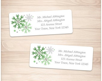 "Printable Green Snowflake Address Labels Winter - Green Gray - Personalized 2 5/8"" x 1"" Address Labels - Editable PDF - Instant Download"