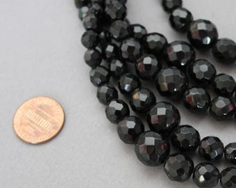 Victorian French Jet Faceted Glass Mourning Multi Strand Beaded Graduated Necklace.