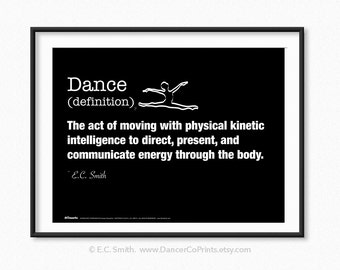 Dance Definition, Dance Print, Digital Art, Dance, Dance Wall Art, Digital Download, Instant Download, Printable Art, Typography Print