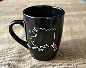Alaska Mug - Hand Painted Coffee Mug AK Mug Mug- Morning Coffee Cup - Hand painted Mug Alaska Love Cup Mug - Customizable