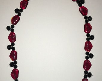 Sparkling red and black bead necklace, gift for her