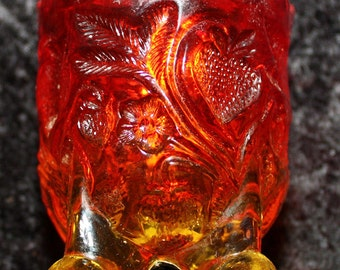 Vintage Kanawha Amberina Footed Strawberry Pattern Toothpick Holder