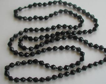 Vintage Black Glass Beads Flapper Style Necklace