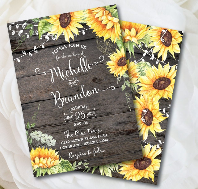 Rustic Sunflower Wedding Invitation Rustic Wedding Country