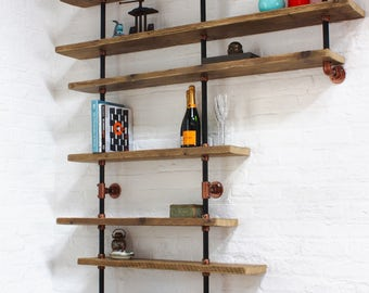 Barney Floor and Wall Mounted Shelving made with Reclaimed Scaffolding Boards, Dark Steel Pipe and Copper Powder Coated Adjustable Fittings