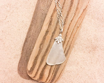 White Sea Glass Sterling Silver Necklace Shell Bail