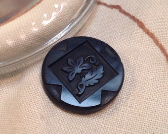 Antique Black Glass Button. Floral. Victorian. Mourning.