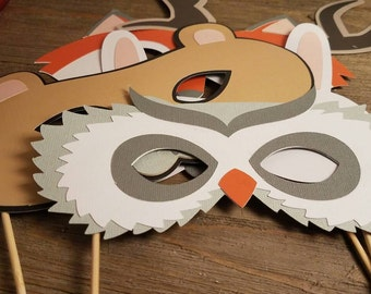 Woodland photo booth props, woodland baby shower photo booth props, animalphoto props,  birthday props, birthday party ideas, animal mask