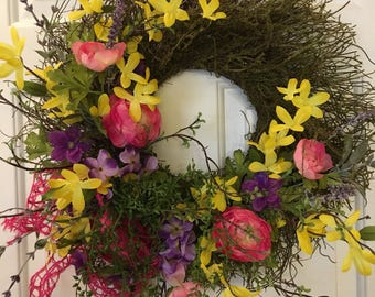 Bright Springy Moss covered Twig Wreath