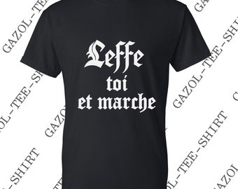 "T-shirt ""Leffe and walk."" Beer humor gift idea."