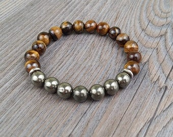 hand made ring brown tiger's eye and pyrite 8mm