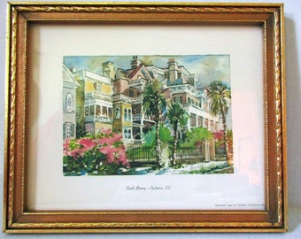 South Battery Charleston South Carolina, Lithograph Print, Virginia Fouche Artist Signed Print, Art Gift Idea, Charleston Antebellum Homes.