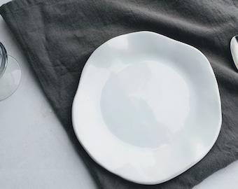 White Ceramic Dinnerware Plate, Ceramic White Plate, White Dessert Plate, Stoneware Dessert Plates,Handmade Dinnerware