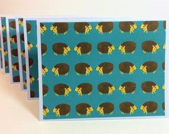 Set of 6 handmade blank notes cards hedgehogs