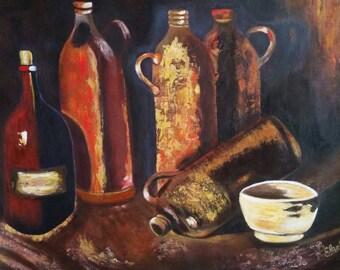Vincent Van Gogh - Four bottles & a flask