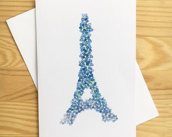 Eiffel Tower paris card, french floral print, forget me not