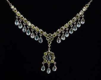 Blue Topaz Peridot necklace ,Sterling Silver necklace,Victorian choker,Statement necklace,Handmade necklace,Victorian choker,Bib