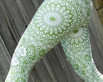 Avocado Leggings - Green Yoga Leggings, Yoga Pants, Green and White Mandala Art Tights, Stretch Pants