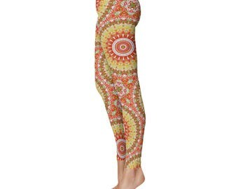 Summer Yoga Pants - Pattern Leggings, Bright Printed Leggings for Spring and Summer
