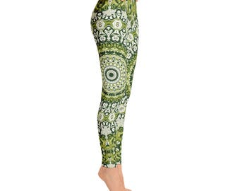 Workout Leggings With Designs - Green Printed Leggings, Womens Leggings, Mandala Yoga Leggings, Mandala Pants, Yoga Pants