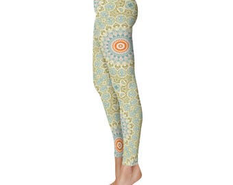 Fitness Leggings - Green and Orange Mandala Art Leggings, Boho Yoga Tights, Stretchy Yoga Pants