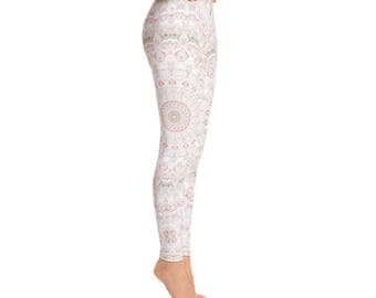 Spring Leggings, Yoga Wedding Bridesmaid Gifts for Her, Printed Leggings for Women