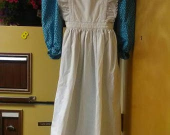 Teal and white pioneer dress, apron, bonnet set