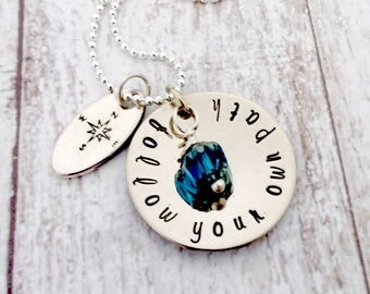 Hand Stamped, Follow Your Own Path, Silver Necklace, Mother's Day Gift, Gifts for Mom, Mother's Day