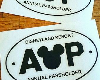 "Disneyland Resort Annual Passholder Car Decal 6"" White Vinyl or Black Vinyl"