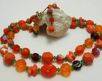 Colorful Orange Beaded Necklace