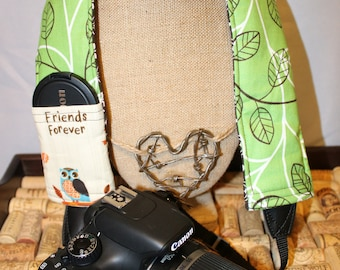 Owl Friends Forever Camera Strap Cover with Lens Cap Pocket