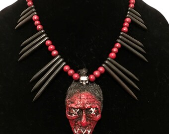 Shrunken Head Tiki Necklace - Blood - Spike