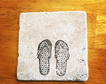 Flip flop Coasters, Religious Gifts, Tumbled Coasters (Set of 4)
