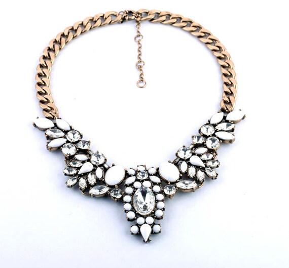 Bella Stone Statement Necklace / Bold and Beautiful / Choker / Pendant / Bib/ Crystal Necklace