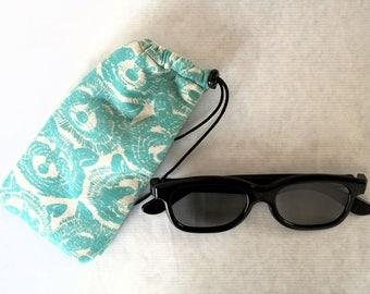 Case glasses, protection glasses, Scandinavian glasses case, soft glasses case, tissue case, Holster phone case glasses Green