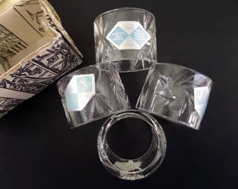 CRYSTAL NAPKIN RINGS • Sears Crystal • The Whiskered Kitten • Starburst Design • Hand Cut Crystal • Mouth Blown Crystal • Hungary Crystal
