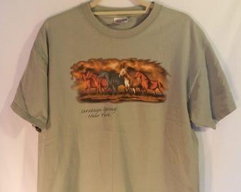 Saratago Springs New York t shirt// 90s grunge horses iron on graphic travel souvenir hipster tee//  Vintage Hanes// Unisex S M large