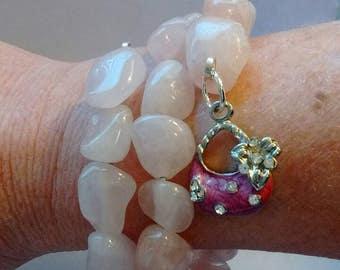 Rose quartz bracelet, quartz bracelet, beaded bracelet, adjustable bracelet, charm bracelet, best friend gift, environmentally friendly shop