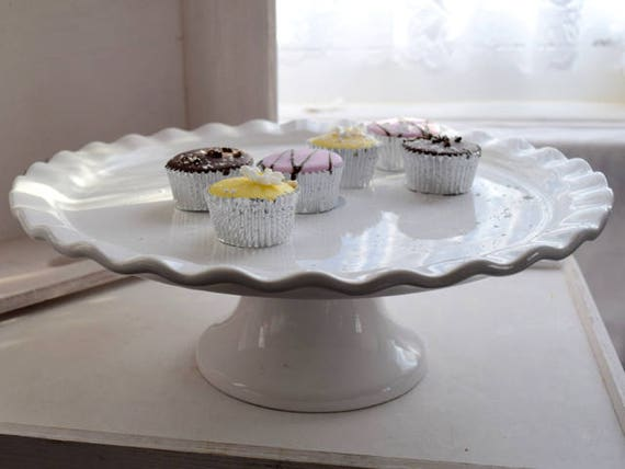 White, Portuguese, Round, Wedding Cake Stand, scalloped edges, top table, center piece, anniversary, event, cup cake stand,