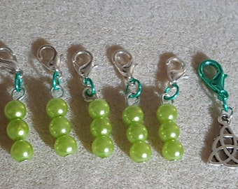 Knitting Marker's,Stitch Markers,SnagFree,Nickel Free,Flowers,Pearl's,Knitting Notions,Knitter's,SnagFree Markers,Green,Knitting gift,Glass