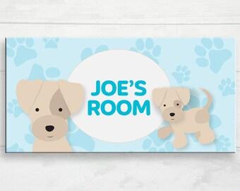 Kid's Personalized Puppy Door Sign, Custom Puppy Door Sign, Kid's Door Plaque, Puppy Theme Nursery Art, Custom Name Puppy Art, Puppy Door