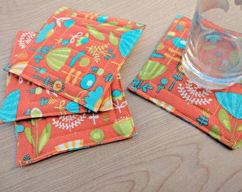 """Orange Spring Flowers Coasters 4.5"""" - 100% Cotton, Quilted - Set of 4 Reversible;  Want in a different fabric?  Just ask"""