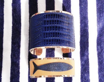 Bangles, bracelets dark blue leather or with a fish on yellow background . Handmade in France. SuperCheri. Perfect fashion gift for her.
