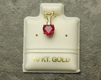 Ruby Gold Pendant, Genuine Red Ruby Gemstone in 10KT Yellow Gold Pendant, Heart Faceted Ruby