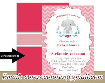 Elephant Birthday, Little Girl, chevron Pattern, BONUS back side