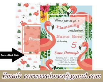 Flamingo Birthday, Little Girl, Flamingo, flower, Summer, BONUS back side