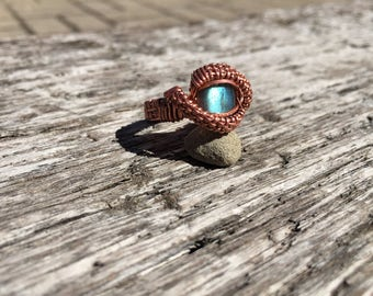 Blue labradorite copper ring